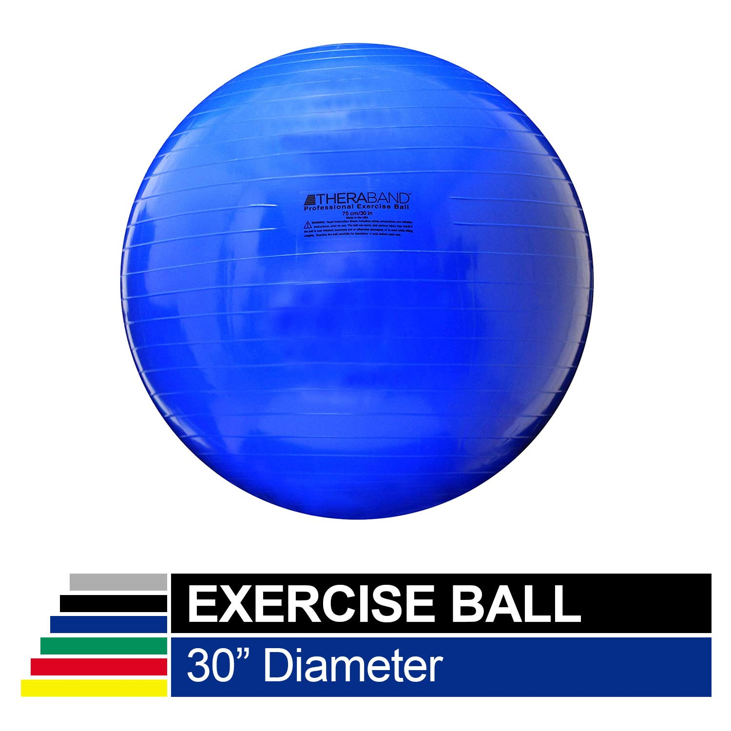 TheraBand Exercise Ball, Stability Ball with 75 cm Diameter for Athletes 6 2 to 6 8 Tall, Standard Fitness Ball for Posture, Balance, Yoga, Pilates, Core, Rehab, Blue