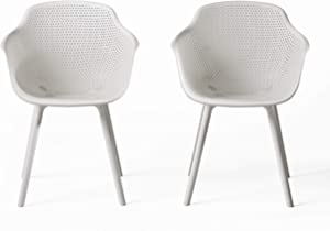 Christopher Knight Home 312464 Warren Outdoor Modern Dining Chair (Set of 2), White