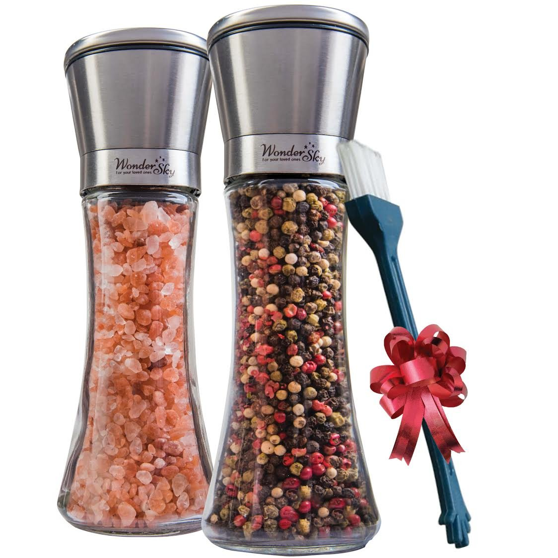 Salt and Pepper Grinder Set of 2 - Tall Salt and Pepper Shakers with Adjustable Coarseness by Ceramic Rotor - Stainless Steel Pepper Mill Shaker and Salt Grinders Mills Set with FREE Cleaning Brush by Wonder Sky