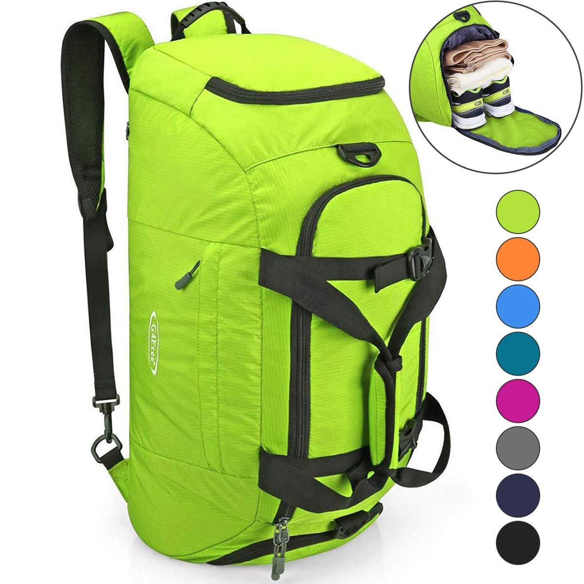 G4Free 3-Way Travel Duffel Backpack Luggage Gym Sports Bag with Shoe Compartment 40L