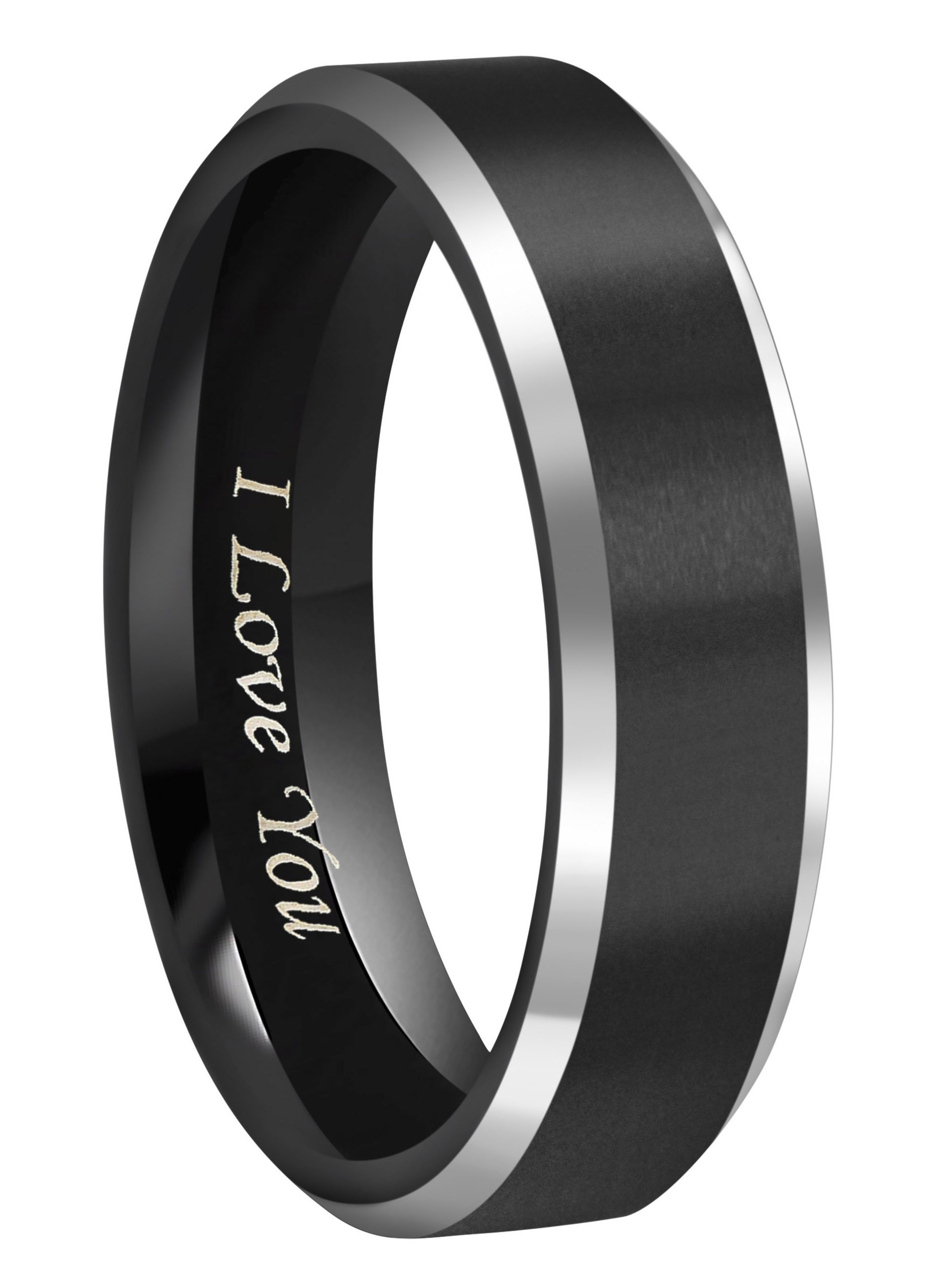 CROWNAL 6mm Black Tungsten Couple Wedding Bands Rings Men Women Polished Beveled Edges Matte Brushed Finish Engraved I Love You Size 3.5 To 17 (6mm,6.5)