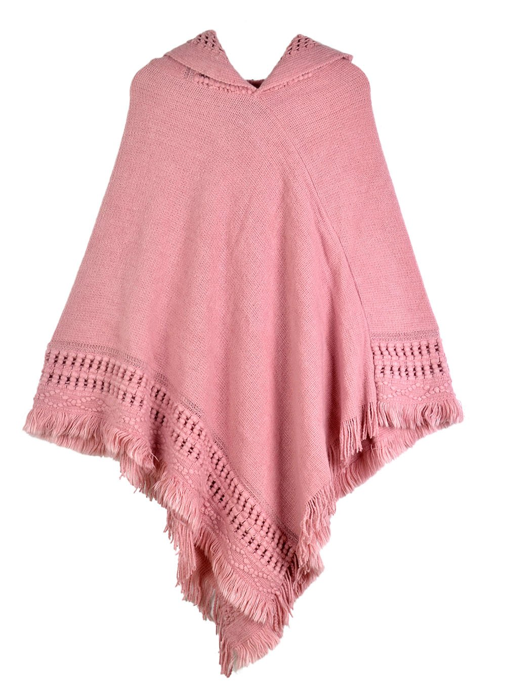 Womens Knitted Hooded Poncho Tops Shawl Cape Batwing Blouse With Fringed Sides For Lady (Pink)