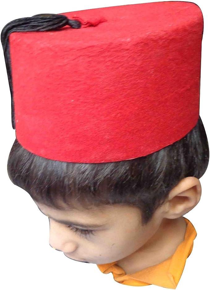 Head Cover Arabian Oriental Children/'s Fez Costume Red