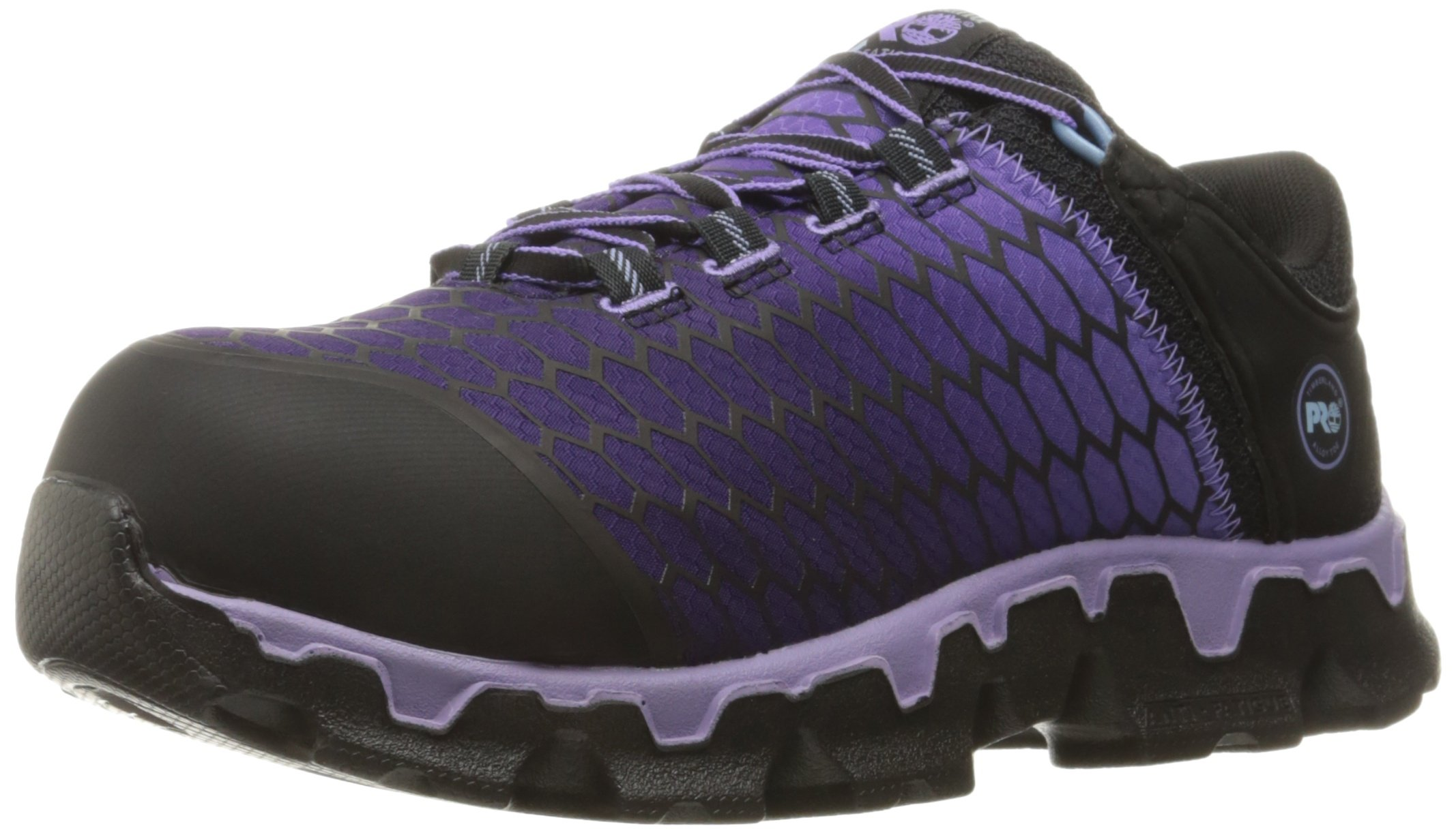 Timberland PRO Women's Powertrain Sport Alloy Toe SD+ Industrial and Construction Shoe, Black Synthetic/Lavender, 9 W US