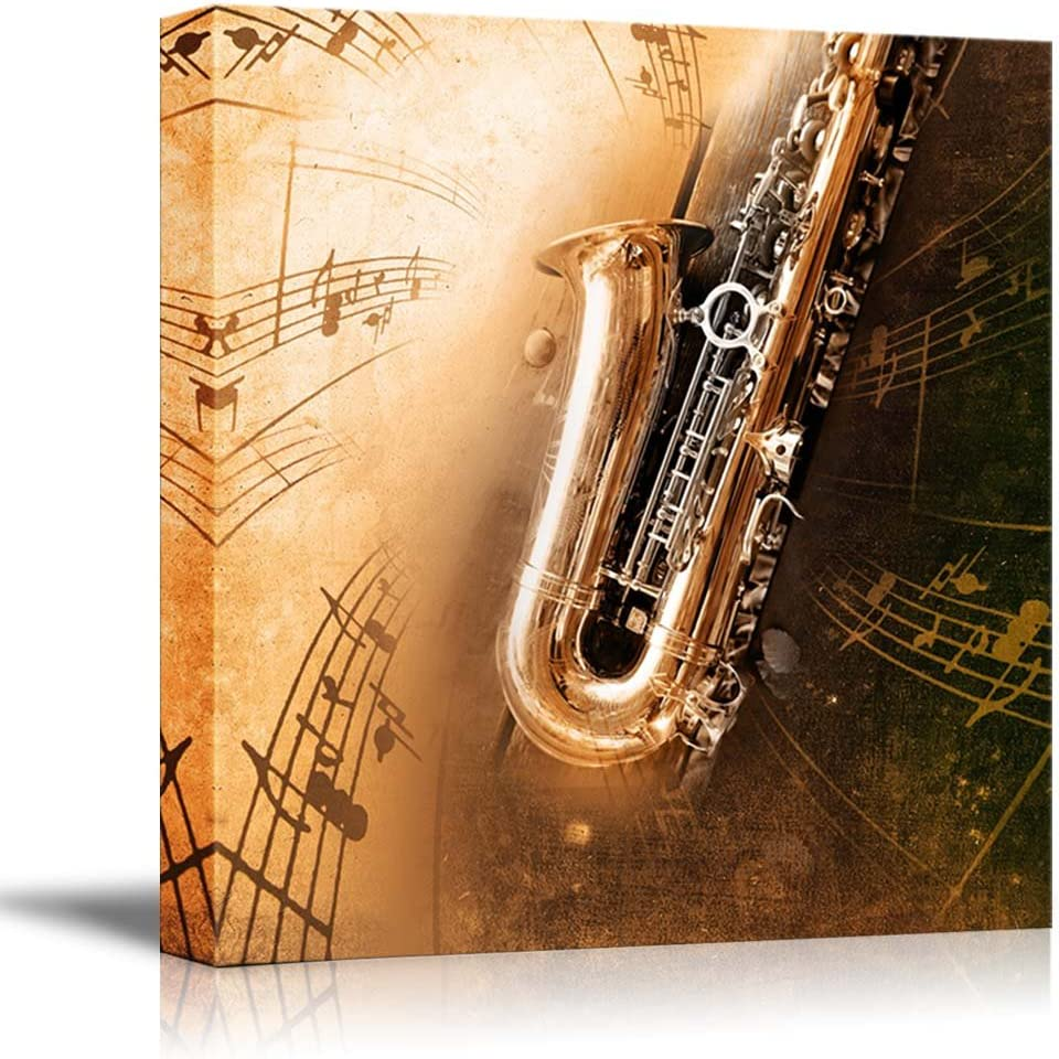 """wall26 - Canvas Prints Wall Art - Retro Sax with Old Yellowed Texture Background (Saxophone) 