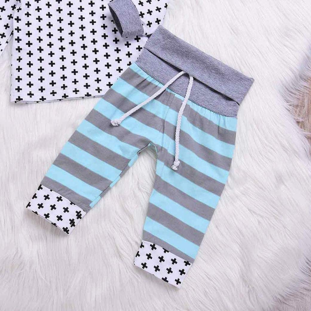 Memela Baby Clothes,2PCS Toddler Baby Infant Stripe Print Hooded Top Clothes+Long Pants Set Outfit
