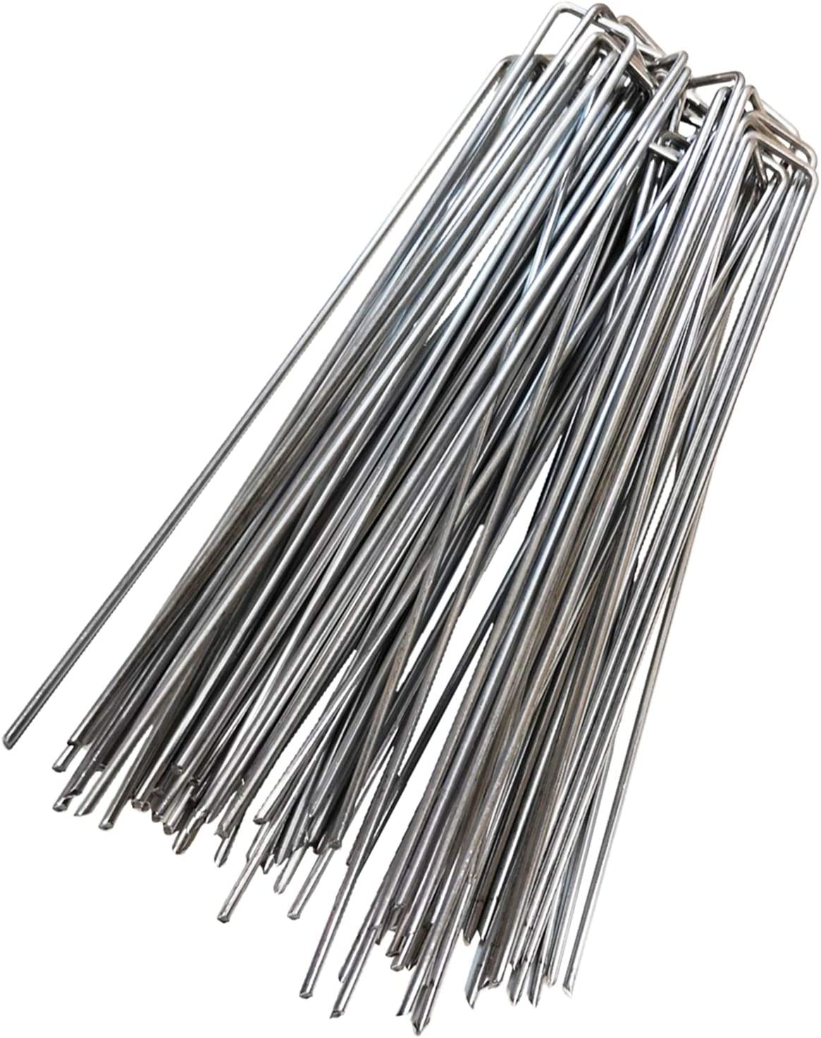 Impactspring 12Inch Garden Stake,30pc Galvanized Landscape Staples Extra Long,Sharp End U-Type Staples Perfect for securing Dog Fences,Weed barriers,Outdoor Wires,Cords,Tents, tarps and More(Sliver)
