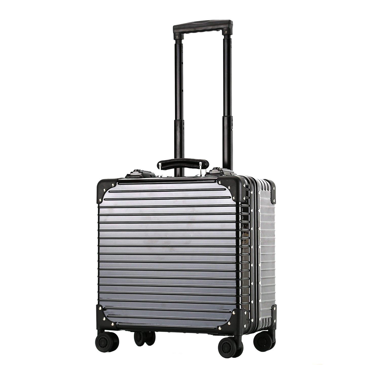 edd36dea73 スーツケース アルミフレーム 機内持ち込み TSAロック搭載 静音キャスター360度回転 ベルトフック付き 旅行 軽量 18inch  B078GNLW8B ブラック -スーツケース