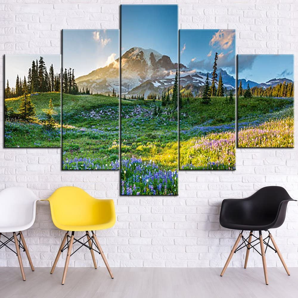Native American Decor Mount Rainier Paintings Washington State,USA Landscape Pictures 5 Panel Canvas Wall Art Artwork Home Decora for Living Room Framed Gallery-Wrapped Ready to Hang(60''Wx40''H)