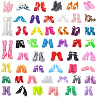 """DoubleWood 50Pairs 11.5"""" Fashion Doll Shoes Replacement Different Assorted Colors High Heel Shoes Doll Boots Flat Shoes Set Replacement for Barbie Doll"""