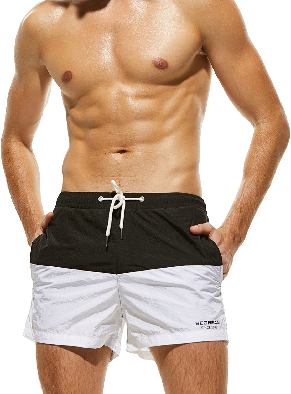 Mens Swim Shorts Quick Dry Swim Trunks Nature Rising Blue Mountains Mens Bathing Suits with Mesh Lining