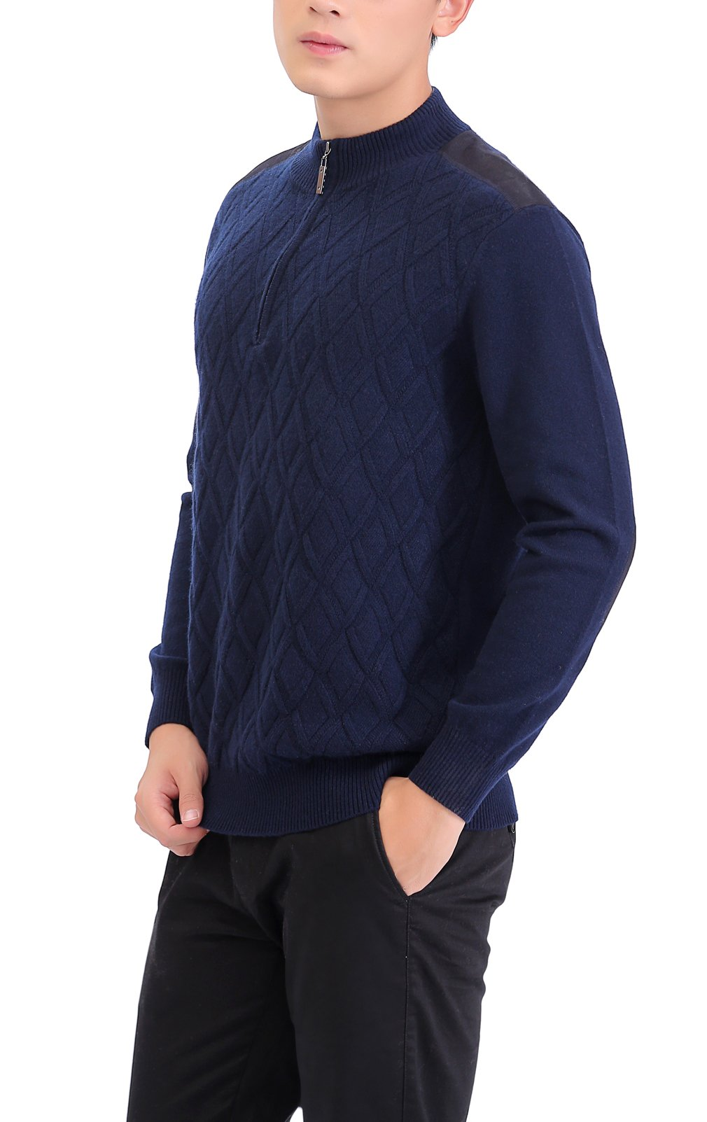 METERDE Men's Knitwear Half Zip Business Casual Cashmere Pullover Sweater X by Cashmere DX (Image #4)