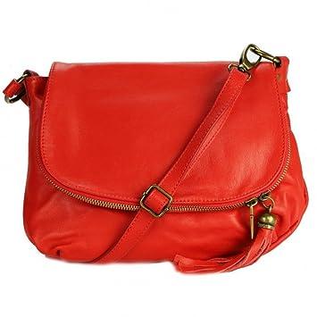 9190b7d865 OLIVIA - Sac bandoulière Cuir rouge PALERME N1085 Sac en cuir PRIX DU WEB -  Marron