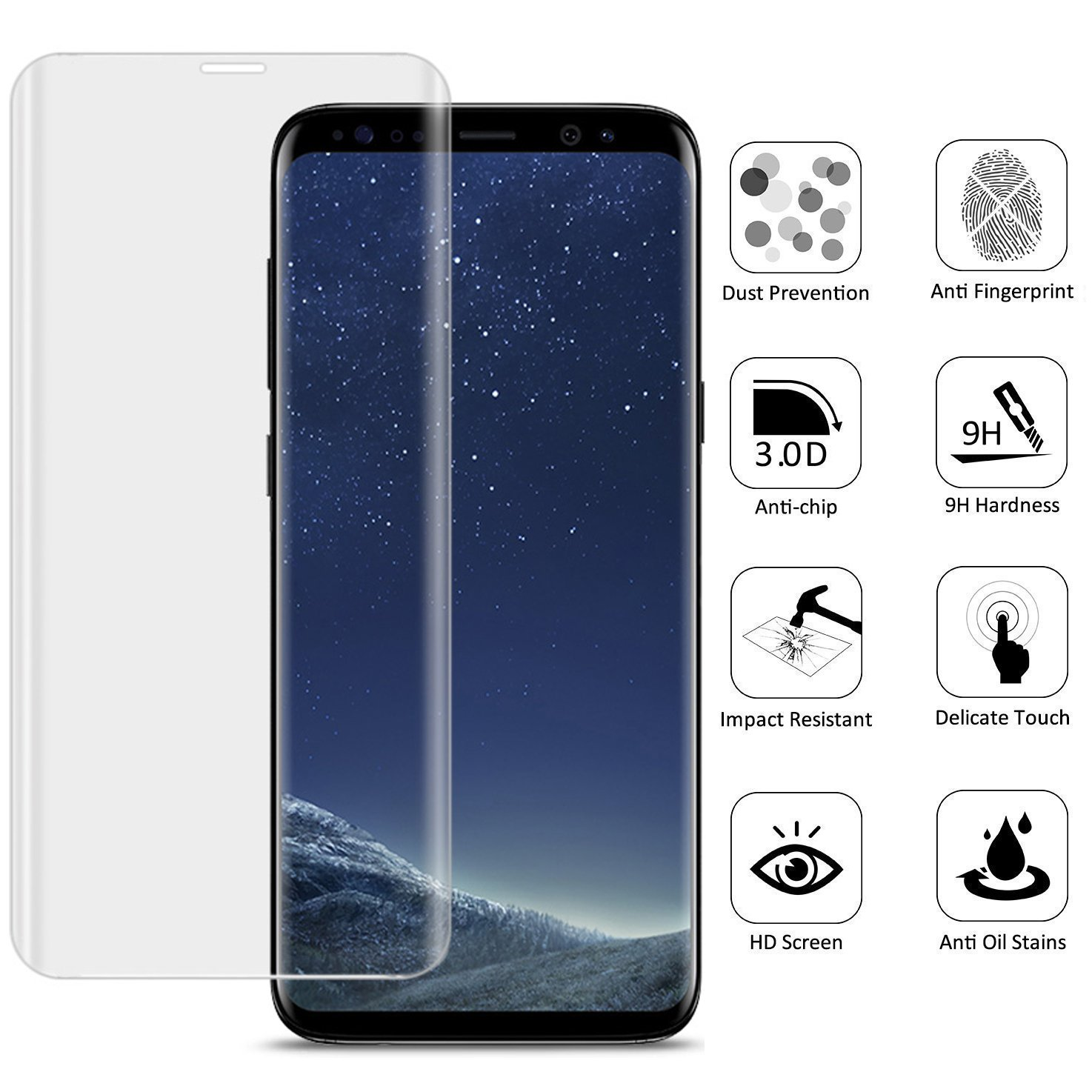samsung galaxy s8 screen protector mlmm 2 pack 3d curve edge hd