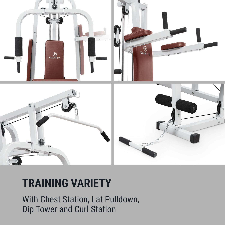Klarfit Ultimate Gym 9000 • Multiestación de Fitness • 7 Estaciones • 100kg • Pila de Pesas • Acolchado • Entrenamiento simultáneo • Cable Acero • Blanco: ...