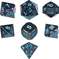 TecUnite 7 Die Metal Polyhedral Dice Set DND Role Playing Game Dice Set with Storage Bag for RPG Dungeons and Dragons D&D Math Teaching (Shiny Black and Blue)