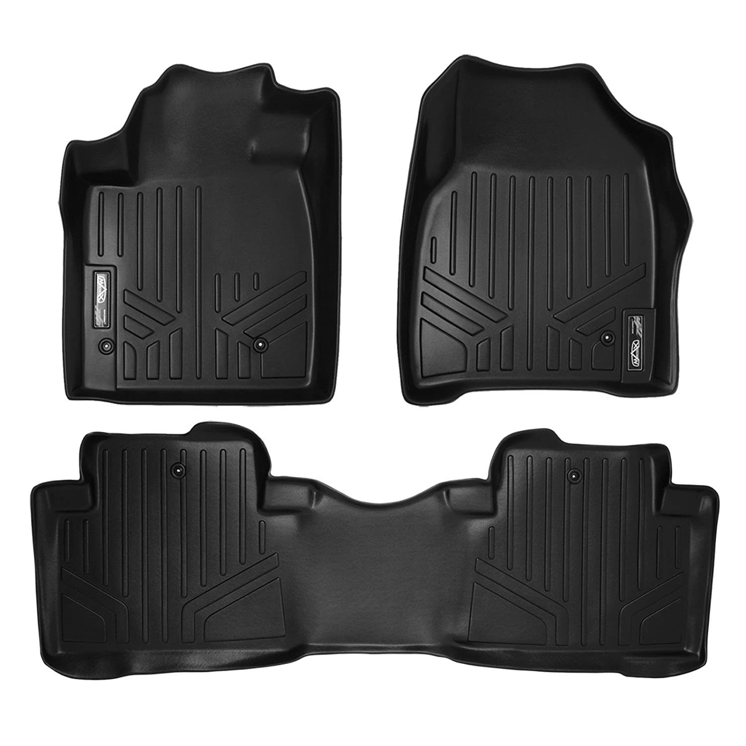 SMARTLINER Floor Mats 2 Row Liner Set Black for 2009-2015 Honda Pilot Maxliner USA A0036/B0036