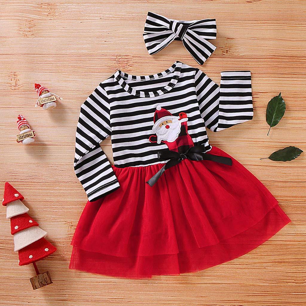 Afocuz 2 Pcs Christmas Costumes Toddler Kids Baby Girl Dress Outfit Long Sleeve Santa Tutu Dress Headband Clothes Set