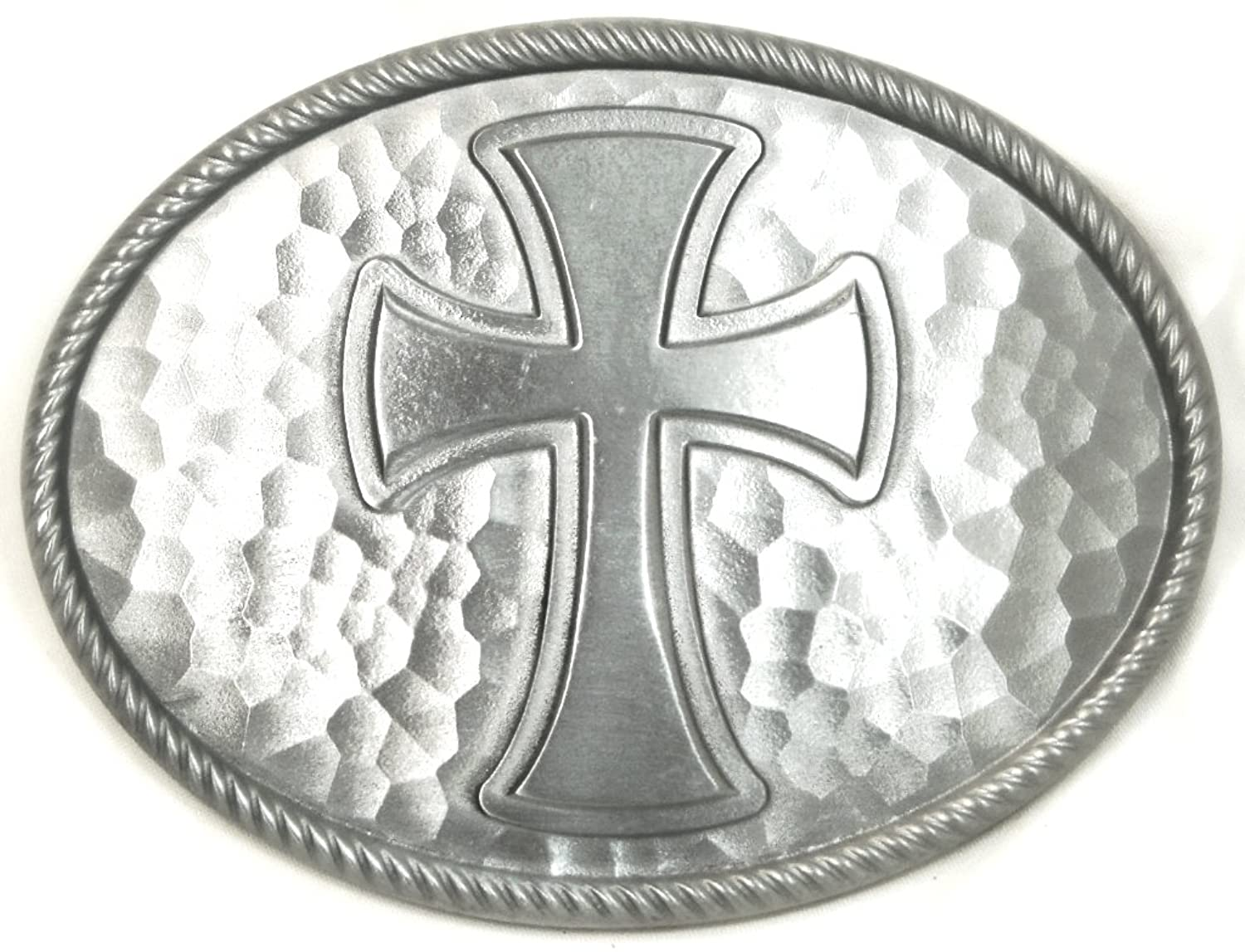 LARGE CLASSIC CROSS - HAMMERED PEWTER FINISH BELT BUCKLE