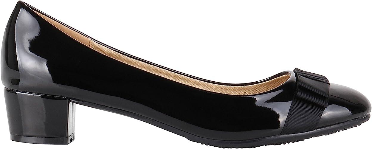 Women Low Block Heel Court Shoes Bow