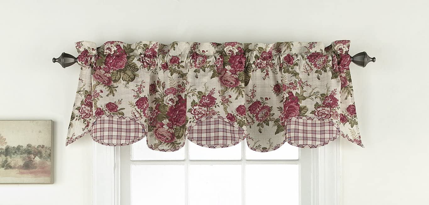 WAVERLY Valances for Windows – Norfolk 60 x 16 Short Curtain Valance Small Window Curtains Bathroom, Living Room and Kitchens, Tea Stain