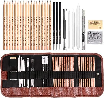 Oumakiku Schizzo Disegno a Matita Set Kit Arte per Schizzo e Disegno con Matite Grafite e Matite Carboncino Kit da Disegno per Artista Principianti Bambini Adulti