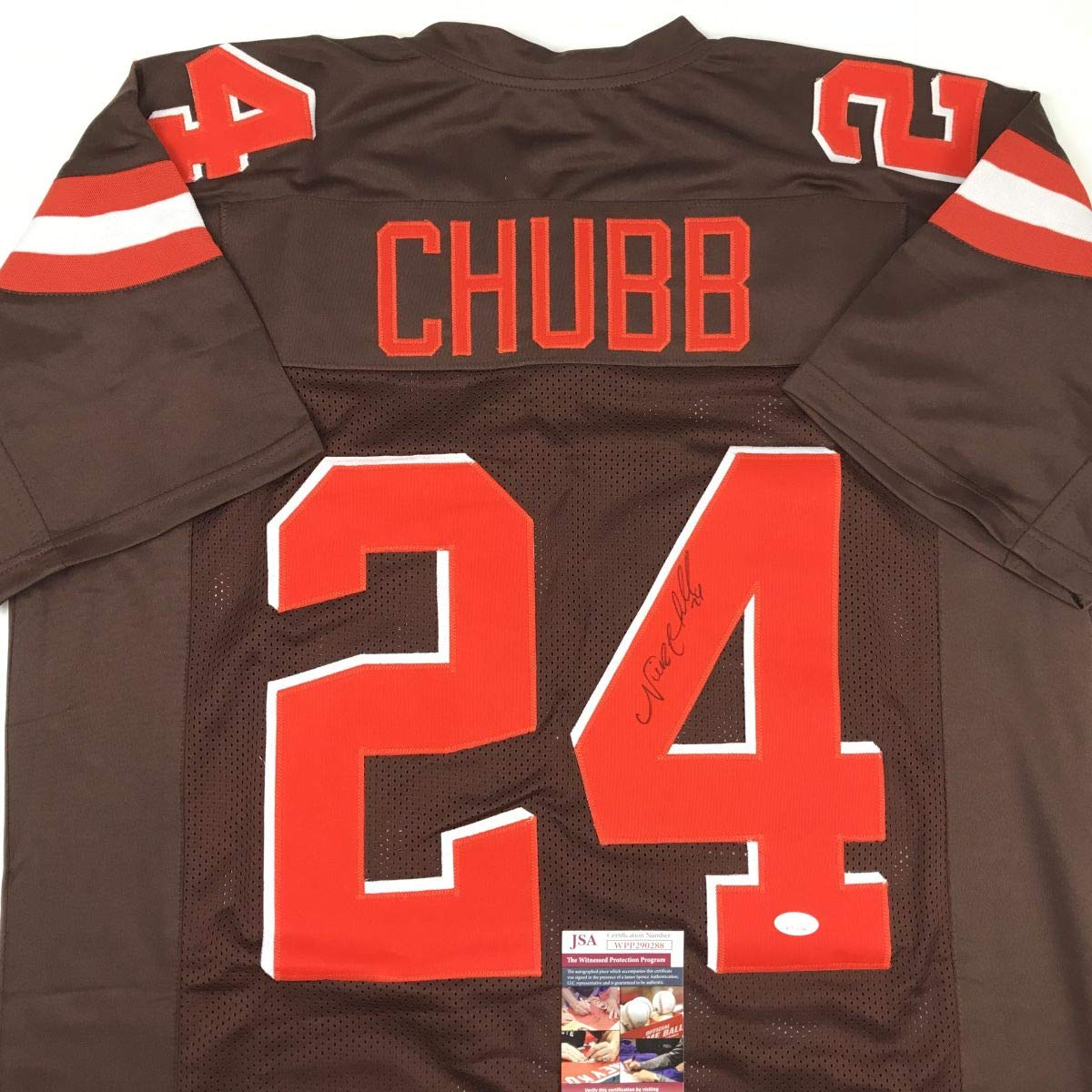 pretty nice be267 b3401 Autographed/Signed Nick Chubb Cleveland Football Brown ...
