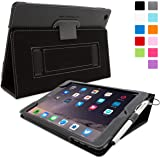 iPad Air 2 Case, Snugg - Black Leather iPad Air 2 Smart Case Cover [Lifetime Guarantee] Protective Flip Stand for Apple iPad Air 2 With Auto Wake & Sleep