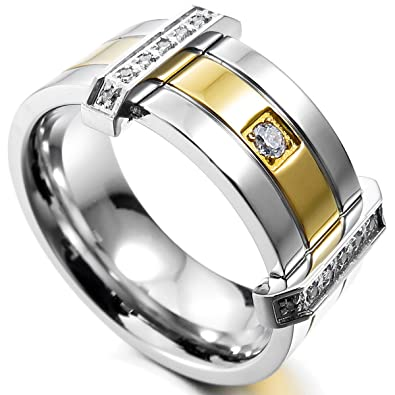 MunkiMix Acero Inoxidable Anillo Ring Banda Venda Cz Cubic Zirconia Circonita Plata Oro Dorado Dos Tono Alianzas Boda Hombre