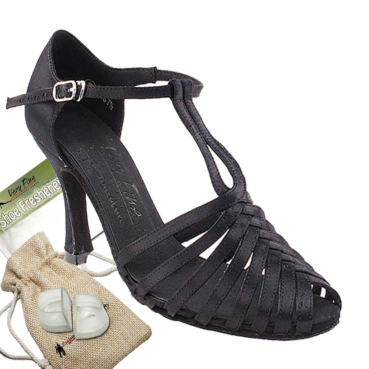 [Very Fine Dance Shoes] レディース B009XTRYRG ブラックサテン 8.5 B(M) US