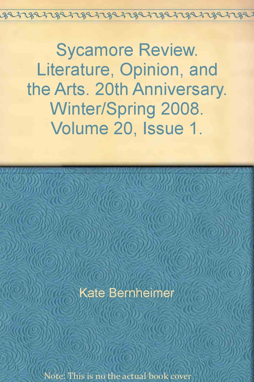 Download Sycamore Review. Literature, Opinion, and the Arts. 20th Anniversary. Winter/Spring 2008. Volume 20, Issue 1. PDF