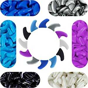 120 pcs Soft Cat Claw Caps Cats Nail Claws 6X Colors + 6X Adhesive Glue + 6X Applicator, Pet Cap Tips Cover Paws Grooming Soft Covers (M, Blue, Silver, Purple, White, Black, Sky Blue)
