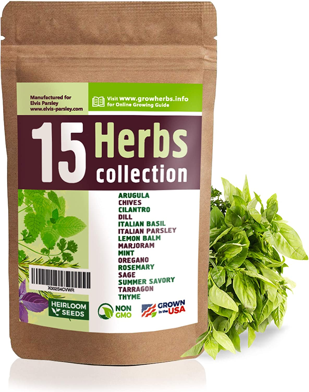 15 Culinary Herb Seeds Variety - USA Grown for Indoor or Outdoor Garden - Heirloom and Non GMO - Basil, Parsley, Cilantro, Dill, Rosemary, Mint, Thyme, Oregano, Tarragon, Chives, Sage, Arugula & More