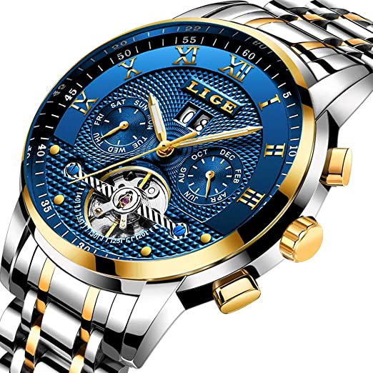 LIGE Relojes Hombre Moda Acero Inoxidable Impermeables Mecánico Automático Reloj Hombre Lujoso Comercio Cronógrafo Calendario Militar Deportivo Luminoso ...