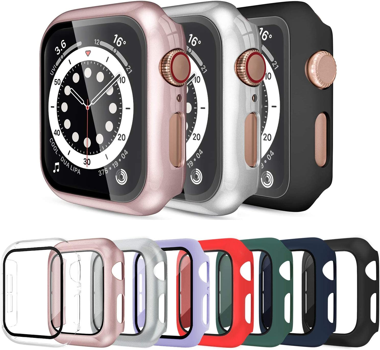 Surundo 8 Pack Apple Watch Case 42mm Compatible with iWatch Series 3/2 / 1, Built-in Tempered Glass Screen Protector Full Protective Cover Bumper for Apple Watch Accessories 42mm
