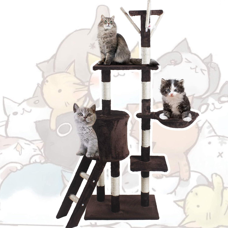 JL Comfurni Cat Tree Sisal Scratching Post Kitten Scratcher Nest Tower High Brown