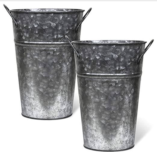 Rustic Vases Metal Flower Farmhouse Style Set Of 8 Inches Tall French Bucket