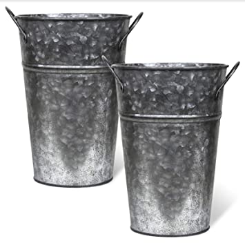 225 & Arbor Lane Rustic Metal Flower Vase - 8 Inches Tall - French Bucket Farmhouse Style - Set of 2 (Pewter)