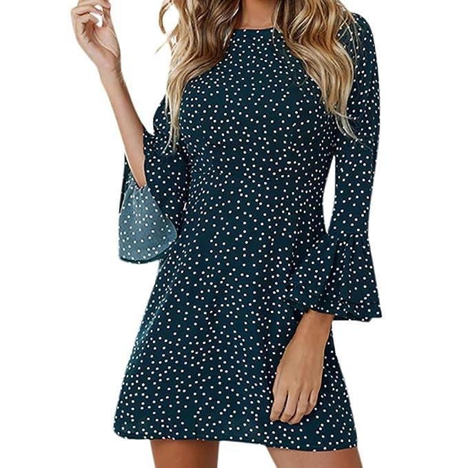 Kleid Damen Kolylong® Frauen Elegant Punkten Langarm Kleid Kurz Vintage  Swing Kleid mit Trompete Ärmel 5164932b43