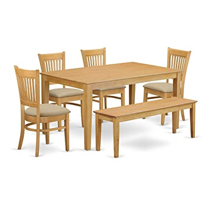 Amazon.com: East West Furniture CAVA6-OAK-C 6 Pc Set-Kitchen Table on granite dining table with bench, kitchen bench style tables, pub table with bench, kitchen dinette sets, kitchen table bench booth, kitchen table set rustic, kitchen bench set furniture, kitchen chairs with bench, small dining table with bench, kitchen table plans, kitchen bench table seat set, oval table set with bench, kitchen corner bench, drop leaf table with bench, kitchen table and chairs sets,