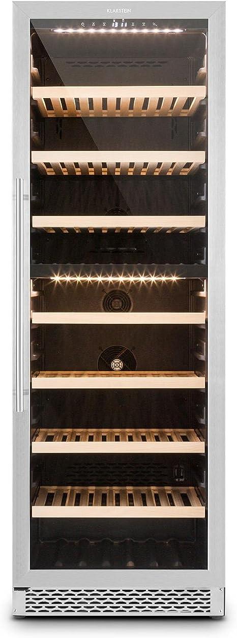Opinión sobre Klarstein Gran Reserva - Nevera para vinos, Nevera para bebidas, Refrigerador gastronomía, 2 Zonas, 166 Botellas, 7 Baldas de madera, Control Táctil, Iluminación interior LED, Negro-plateado