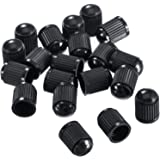 Outus Plastic Tyre Valve Dust Caps for Car Motorbike Trucks Bike and Bicycle 20 Pack (Black)