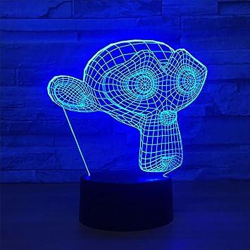 3D Illusion Lampe LED Nachtlichter Für Schlafzimmer, AFFE Maske 7 Farben  ändern Touch Schalter