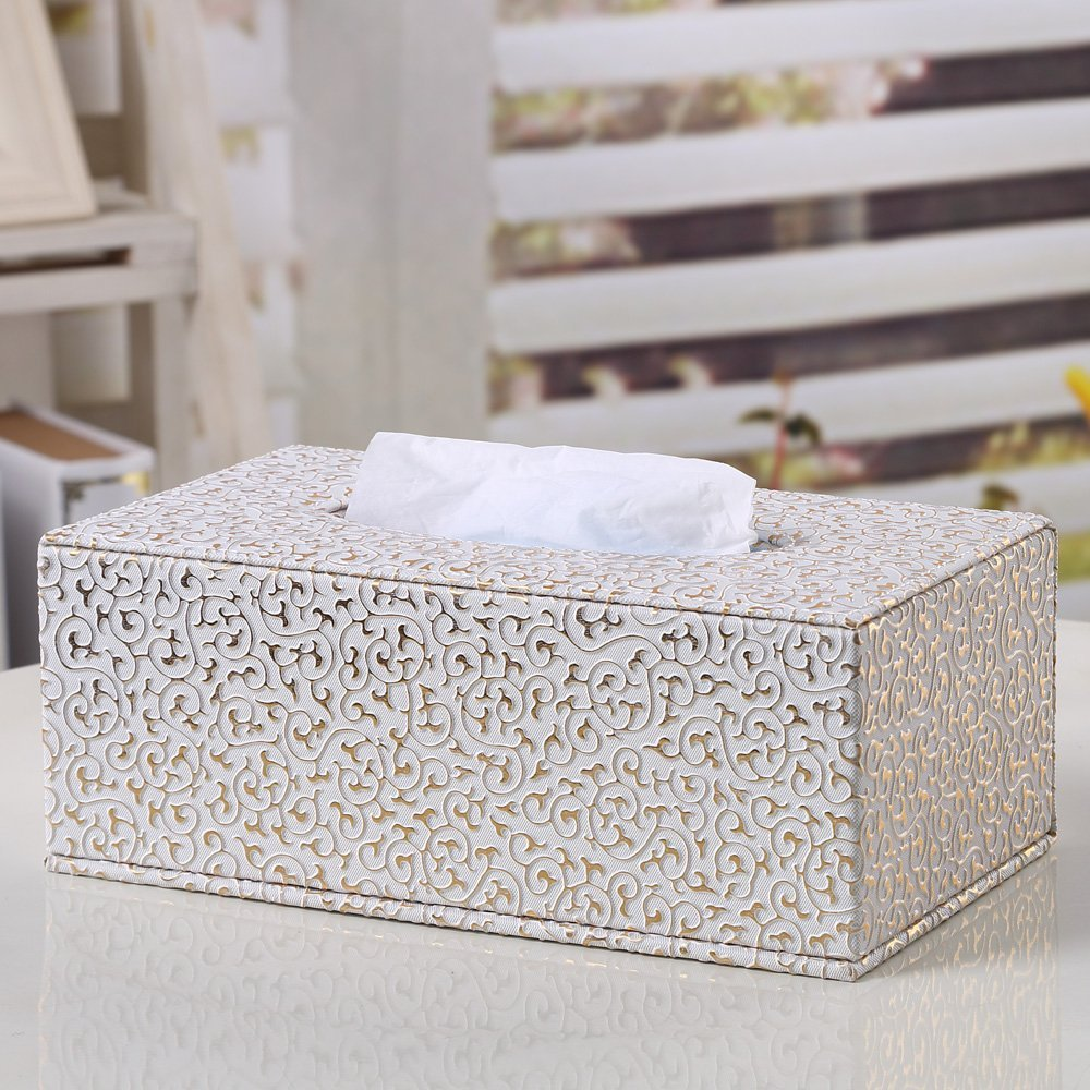 Silver Kanggest Tissue Cover Box PU Leather Tissue Holder Rectangular Tissue Box for Home Office Hotel Club 25.5*14*9.5cm Bathroom