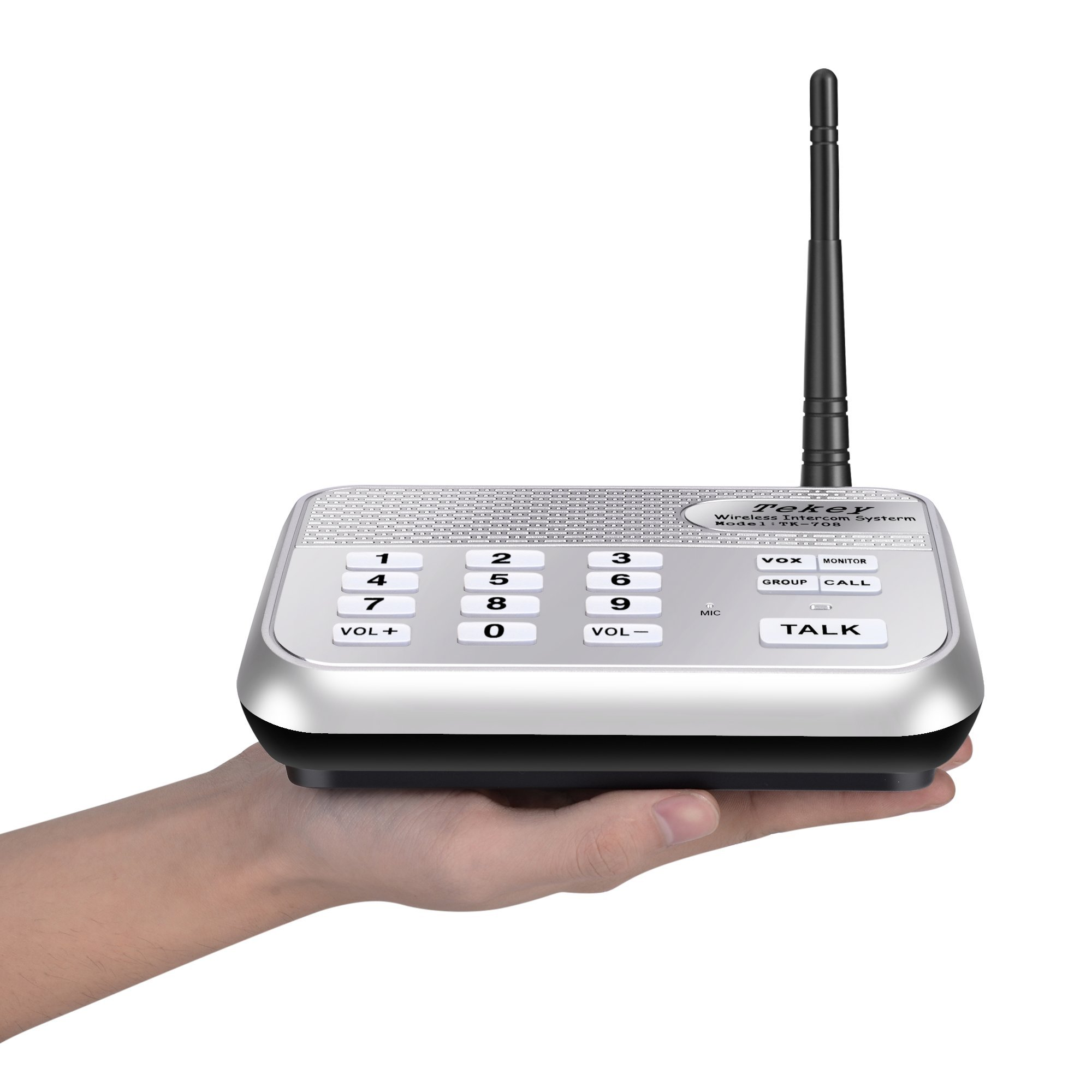 Wireless Intercom System (2017 Version), TekeyTBox 1800 Feet Long Range 10 Channel Digital FM Wireless Intercom System for Home and Office Walkie Talkie System for Outdoor Activitie(4 Stations Silver) by TekeyTBox (Image #7)
