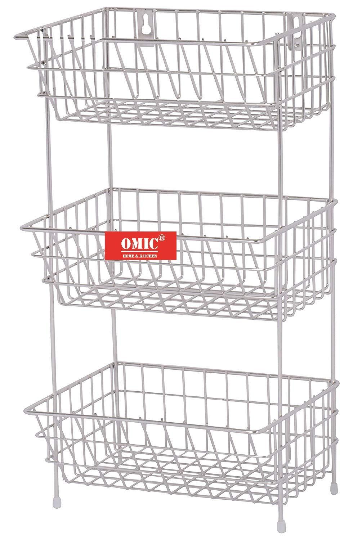 Omic Stainless Steel Fruits & Vegetable Trolley/Basket for Kitchen (Multipurpose Kitchen Storage Shelf Rack) (3 (Tier…