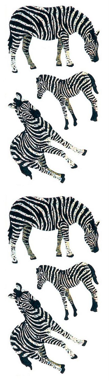 Jillson Roberts Prismatic Stickers, Zebras, 12-Sheet Count (S7147)