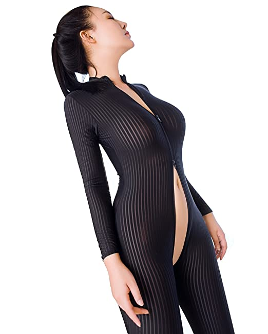 dc0a252ebf3 GO Love Women s Sexy Lingerie Open Crotch Srtiped Sheer Long Sleeves  Bodysuit Black with High Elasticity