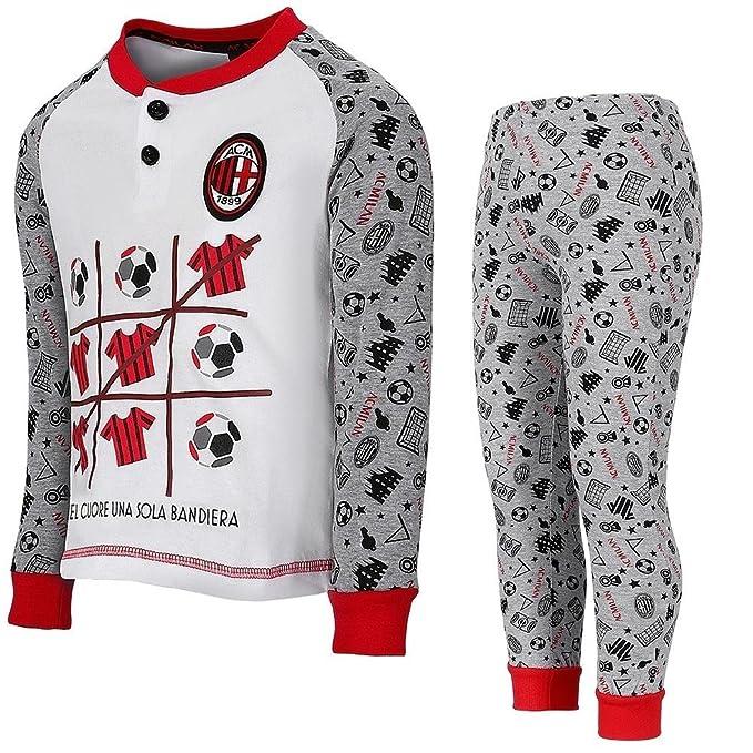 PLANETEX Milan Boys Pijamas Ropa de fútbol ACM Milan PS 26910 (3 años, Blanco