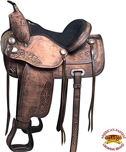 HILASON 16 Western Horse Saddle American Leather Treeless Trail Pleasure O107